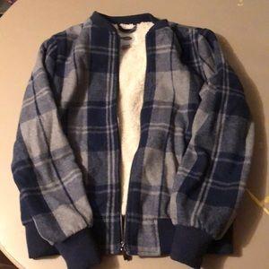 Sherpa lines blue plaid jacket